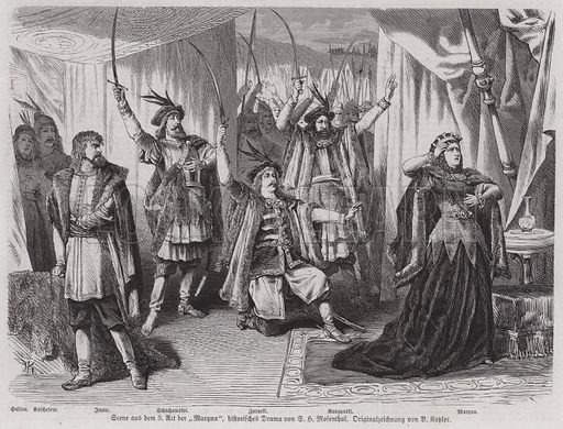 Scene from Act III of German playwright Salomon Hermann Mosenthal's historical drama Maryna. Illustration from Illustrierte Zeitung (Leipzig, 25 March 1871).