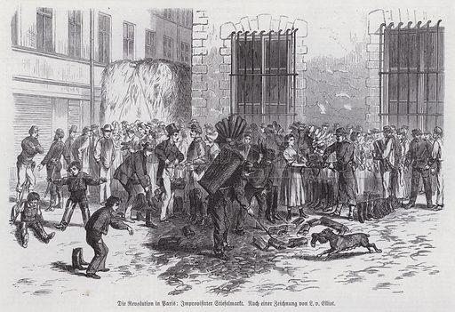 Improvised boot market on a street, Paris Commune, 1871. Illustration from Illustrierte Zeitung (Leipzig, 10 June 1871).