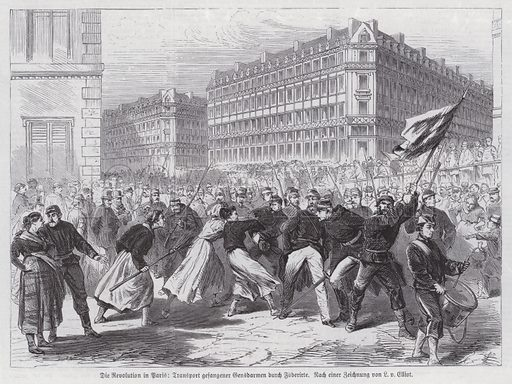 Women attacking captured gendarmes being escorted by National Guards, Paris Commune, 1871. Illustration from Illustrierte Zeitung (Leipzig, 10 June 1871).
