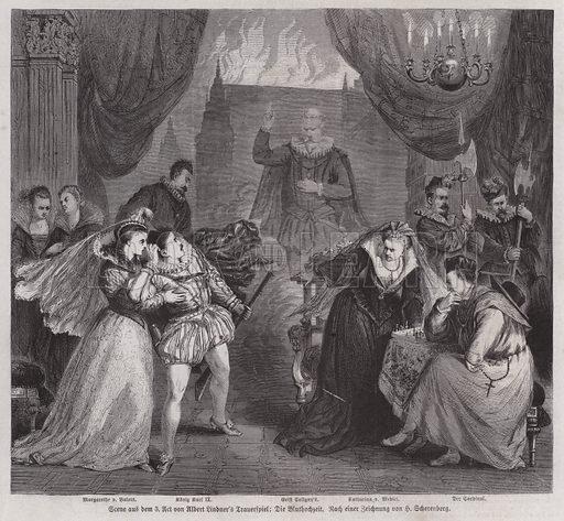 Scene from Act III of German playwright Albert Lindner's tragedy Die Bluthochzeit (The Blood Wedding). Illustration from Illustrierte Zeitung (Leipzig, 24 June 1871).