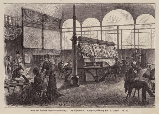 Reading room at the Berlin Exhibition of Trade and Industry, Germany, 1879. Illustration from Illustrierte Zeitung (Leipzig, 5 July 1879).
