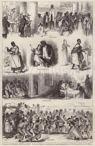 Scenes from a stage adaptation of Harriet Beecher Stowe's novel Uncle Tom's Cabin, performed by a black American theatre company in Munich, Germany, 1879. Illustration from Illustrierte Zeitung (Leipzig, 12 July 1879).