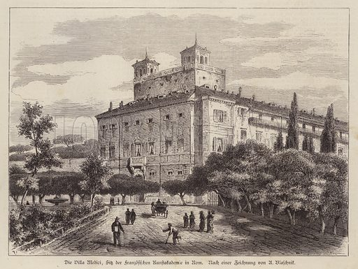 Villa Medici, site of the French Academy in Rome, Italy. Illustration from Illustrierte Zeitung (Leipzig, 12 July 1879).