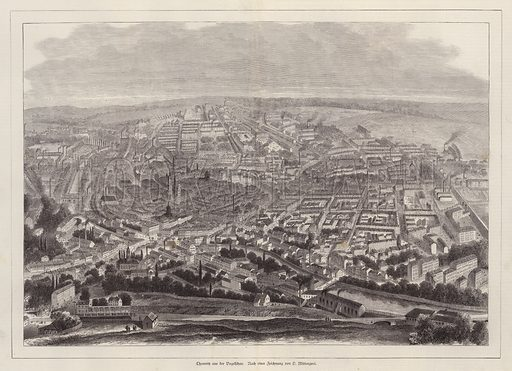 Bird's eye view of Chemnitz, Germany. Illustration from Illustrierte Zeitung (Leipzig, 13 December 1879).