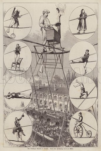 Performance by French tightrope walker and acrobat Charles Blondin in Brussels. Illustration from Illustrierte Zeitung (Leipzig, 26 July 1879).