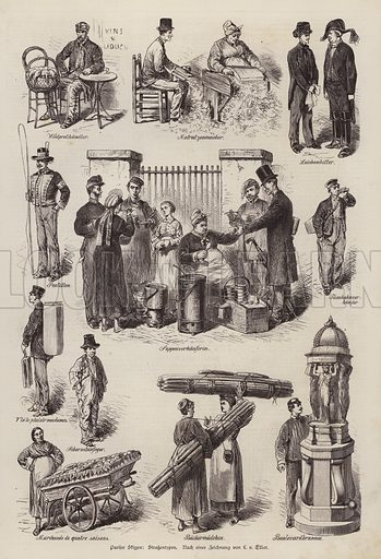Parisian street characters, France. Illustration from Illustrierte Zeitung (Leipzig, 23 August 1879).