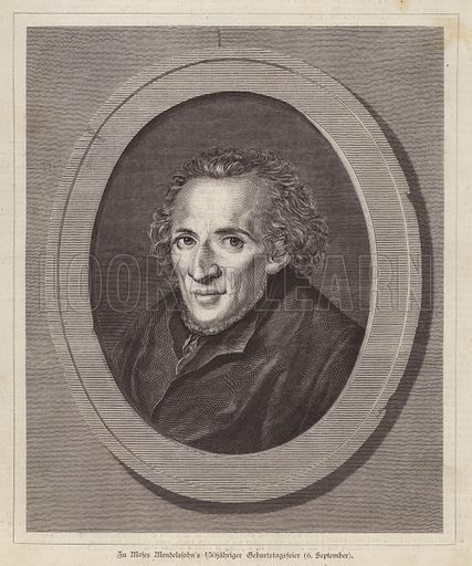 Moses Mendelssohn (1729-1786), German Jewish philosopher. Illustration from Illustrierte Zeitung (Leipzig, 6 September 1879).