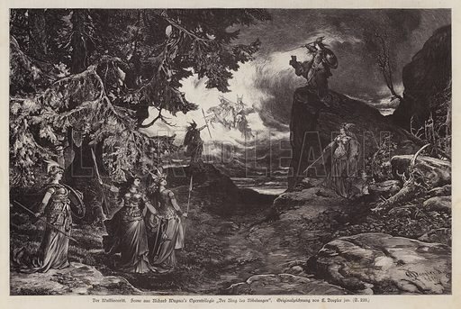 The Ride of the Valkyries, scene from Die Walkure, the second opera of Richard Wagner's Der Ring des Nibelungen. Illustration from Illustrierte Zeitung (Leipzig, 20 September 1879).