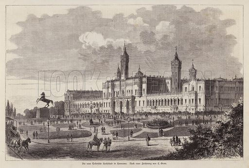 New Technical College at Hanover, Germany. Illustration from Illustrierte Zeitung (Leipzig, 27 September 1879).