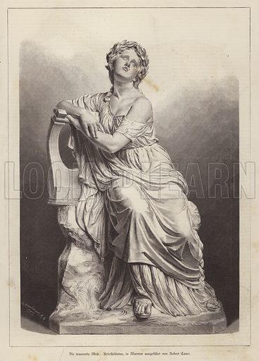 The Grieving Muse, marble statue by German sculptor Robert Cauer the Elder. Illustration from Illustrierte Zeitung (Leipzig, 4 October 1879).