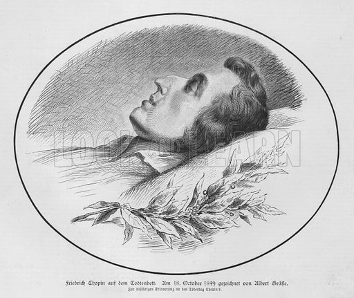 Polish composer and pianist  Frederic Chopin on his deathbed, 1849. Illustration from Illustrierte Zeitung (Leipzig, 18 October 1879).