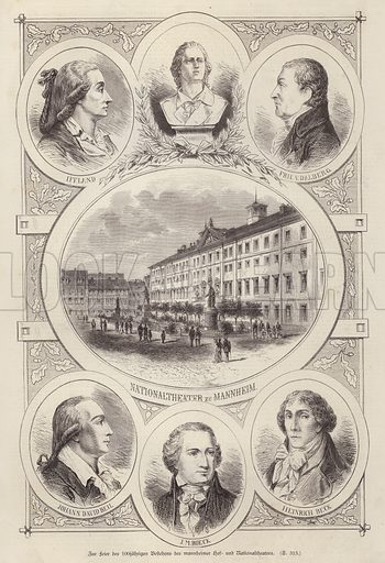 Centenary of the Court and National Theatres, Mannheim, Germany. Illustration from Illustrierte Zeitung (Leipzig, 18 October 1879).
