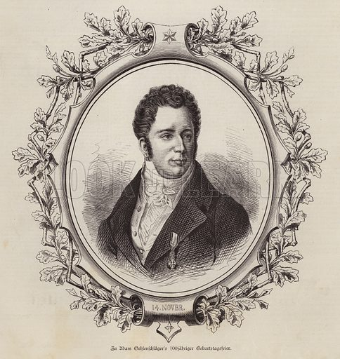 Adam Oelenschlaeger (1779-1850), Danish poet and playwright. Illustration from Illustrierte Zeitung (Leipzig, 15 November 1879).