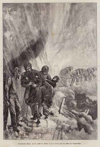 Cave of the Winds, beneath Niagara Falls, New York, USA. Illustration from Illustrierte Zeitung (Leipzig, 15 November 1879).