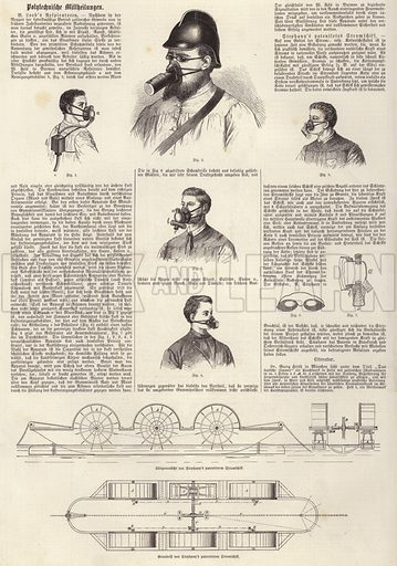 Inventions: B Loeb's respirators and Stephany's patented power boat. Illustration from Illustrierte Zeitung (Leipzig, 22 November 1879).