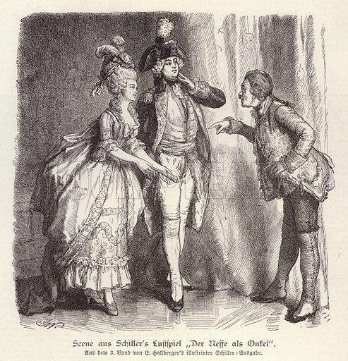 Scene from Friedrich Schiller's comedy Der Neffe als Onkel (The Nephew as Uncle). Illustration from Illustrierte Zeitung (Leipzig, 29 November 1879).