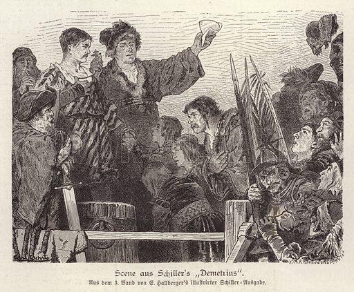 Scene from Friedrich Schiller's unfinished play Demetrius. Illustration from Illustrierte Zeitung (Leipzig, 29 November 1879).