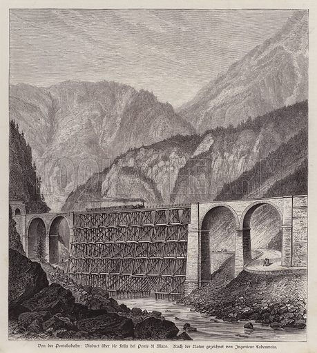 Railway viaduct over the River Fella at Ponte di Muro, Friuli, Italy. Illustration from Illustrierte Zeitung (Leipzig, 6 December 1879).