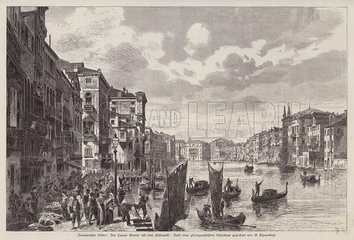 Grand Canal and fish market, Venice, Italy. Illustration from Illustrierte Zeitung (Leipzig, 6 December 1879).