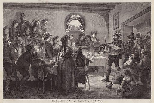Wedding feast in the Salzkammergut, Austria. Illustration from Illustrierte Zeitung (Leipzig, 6 December 1879).