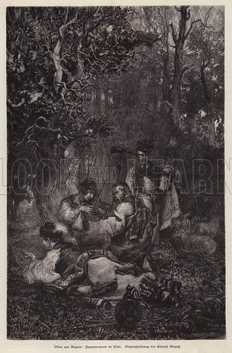 Gypsy concert in a forest, Hungary. Illustration from Illustrierte Zeitung (Leipzig, 13 December 1879).