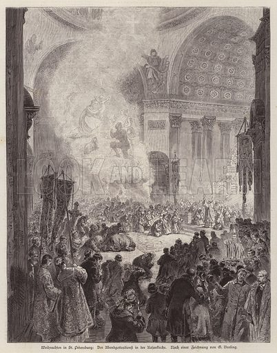 Evening service in the Kazan Cathedral, St Petersburg, Russia, at Christmas. Illustration from Illustrierte Zeitung (Leipzig, 20 December 1879).