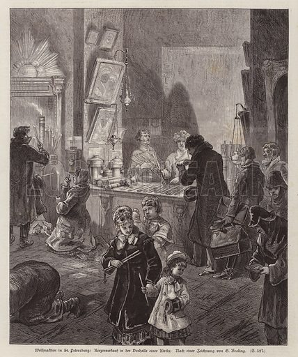 Candles for sale in the vestibule of a church in St Petersburg, Russia, at Christmas. Illustration from Illustrierte Zeitung (Leipzig, 20 December 1879).