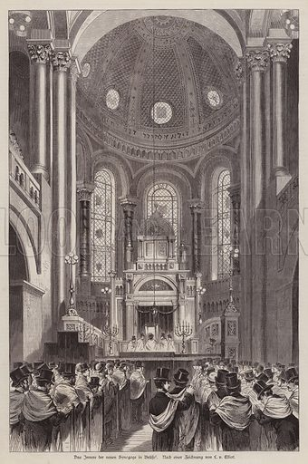 Interior of the new synagogue in Brussels, Belgium. Illustration from Illustrierte Zeitung (Leipzig, 27 December 1879).