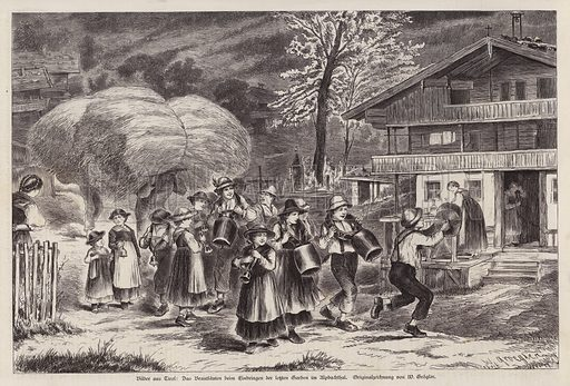Traditional ringing of cowbells to celebrate the bringing in of the last of the harvest in the Alpbachtal, Tyrol, Austria. Illustration from Illustrierte Zeitung (Leipzig, 13 December 1879).