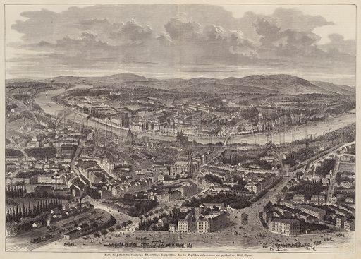 Bird's eye view of Basel, Switzerland. Illustration from Illustrierte Zeitung (Leipzig, 6 July 1879).