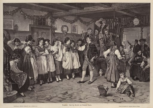 A pause at a dance. Illustration from Illustrierte Zeitung (Leipzig, 4 October 1879).