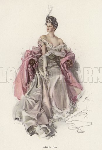 Woman wearing an evening gown after the dance