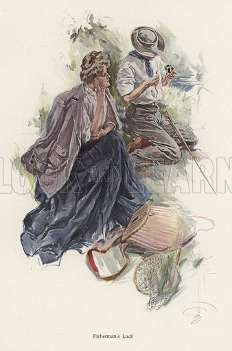 Man fishing on a river bank while a woman looks on
