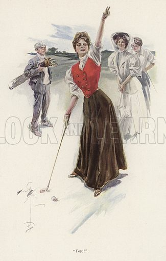 Woman golfer on the course. Illustration from The Harrison Fisher Book (Charles Scribner's Sons, New York, 1908).