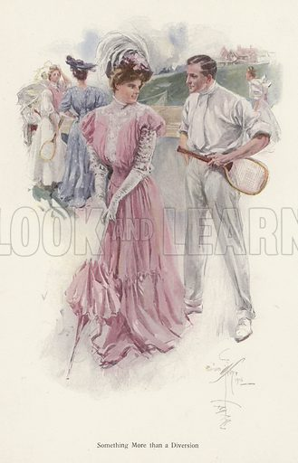 Man interrupts his tennis game to talk to a young woman. Illustration from The Harrison Fisher Book (Charles Scribner's Sons, New York, 1908).