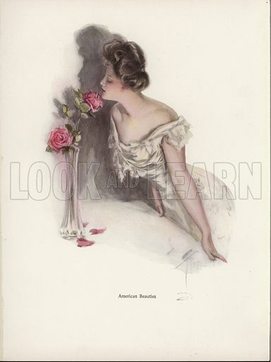 American woman smelling pink roses in a vase. Illustration from The Harrison Fisher Book (Charles Scribner's Sons, New York, 1908).
