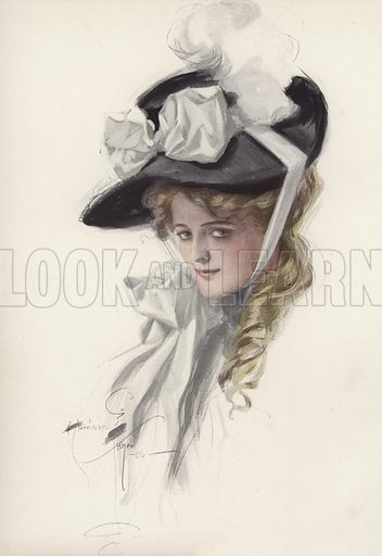 Portrait of a woman in a fancy hat. Illustration from The Harrison Fisher Book (Charles Scribner's Sons, New York, 1908).