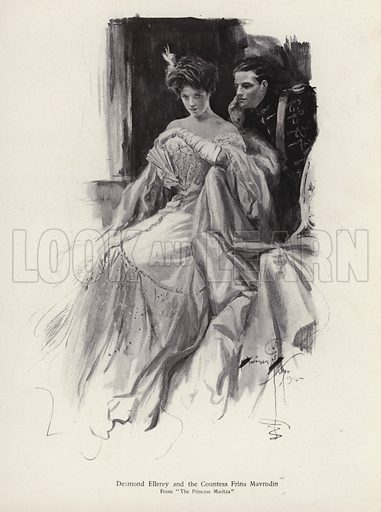 Two characters, Desmond Ellery and the Countess Frina Mavrodin from the novel, The Princess Moritza, by Percy Brebner. Illustration from The Harrison Fisher Book (Charles Scribner's Sons, New York, 1908).