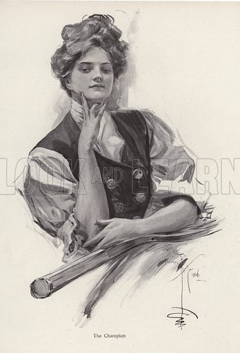 Young woman, tennis champion. Illustration from The Harrison Fisher Book (Charles Scribner's Sons, New York, 1908).