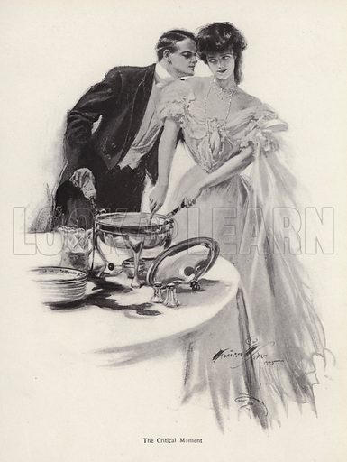 Man flirting with a woman over the supper table. Illustration from The Harrison Fisher Book (Charles Scribner's Sons, New York, 1908).
