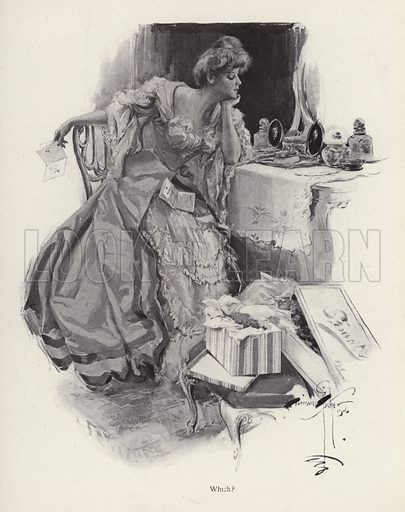 Young woman deciding between two suitors. Illustration from The Harrison Fisher Book (Charles Scribner's Sons, New York, 1908).
