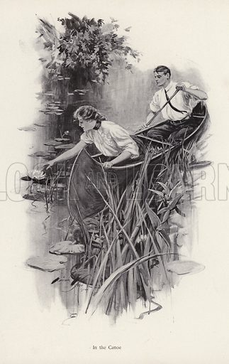 Man and woman in a canoe. Illustration from The Harrison Fisher Book (Charles Scribner's Sons, New York, 1908).