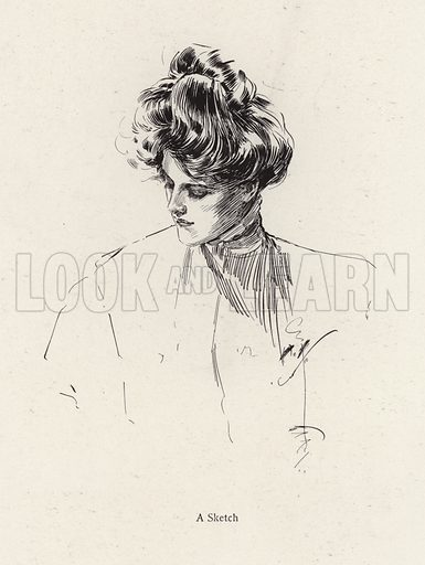 Portrait of a woman. Illustration from The Harrison Fisher Book (Charles Scribner's Sons, New York, 1908).