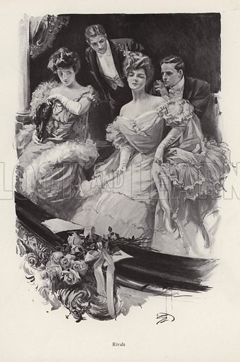 Two women in a box at the theatre in competition with each other for male attention. Illustration from The Harrison Fisher Book (Charles Scribner's Sons, New York, 1908).