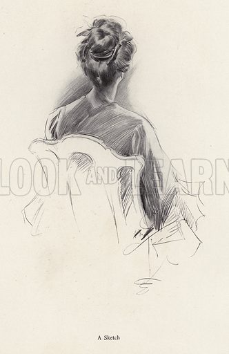 Rear view portrait of a woman. Illustration from The Harrison Fisher Book (Charles Scribner's Sons, New York, 1908).