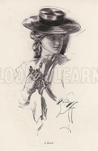 Portrait of a woman in a hat. Illustration from The Harrison Fisher Book (Charles Scribner's Sons, New York, 1908).