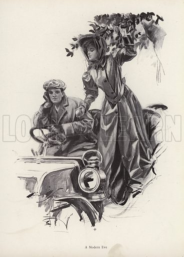 Woman picking apples from inside a car. Illustration from The Harrison Fisher Book (Charles Scribner's Sons, New York, 1908).