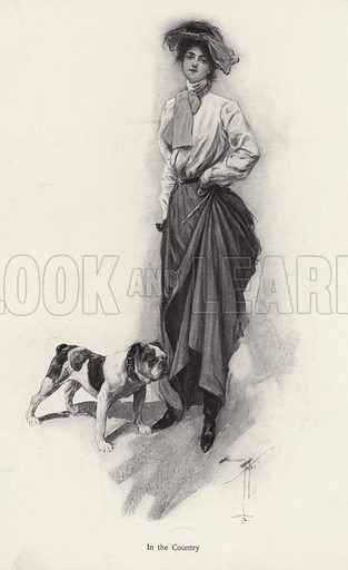 Portrait of a woman dressed for the countryside with her bulldog. Illustration from The Harrison Fisher Book (Charles Scribner's Sons, New York, 1908).