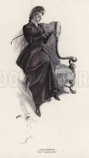 The character Lady Bazelhurst from the novel, Cowardice Court, by George Barr McCutcheon. Illustration from The Harrison Fisher Book (Charles Scribner's Sons, New York, 1908).
