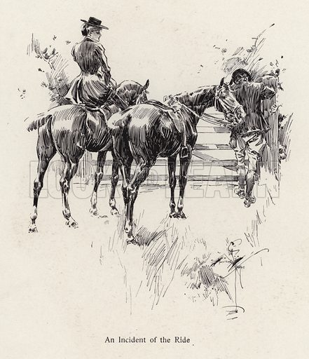 Horse riders pausing to open a gate. Illustration from The Harrison Fisher Book (Charles Scribner's Sons, New York, 1908).
